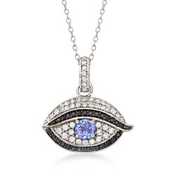 ".40 Carat Tanzanite and .40 ct. t.w. White Zircon Evil Eye Pendant Necklace With Black Spinels in Sterling Silver. 18"", , default"