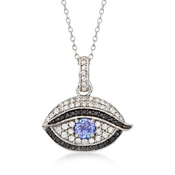 """.40 Carat Tanzanite and .40 ct. t.w. White Zircon Evil Eye Pendant Necklace With Black Spinels in Sterling Silver. 18"""", , default"""