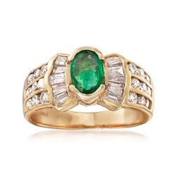 C. 1990 Vintage .55 Carat Emerald and 1.05 ct. t.w. Diamond Ring in 14kt Yellow Gold, , default