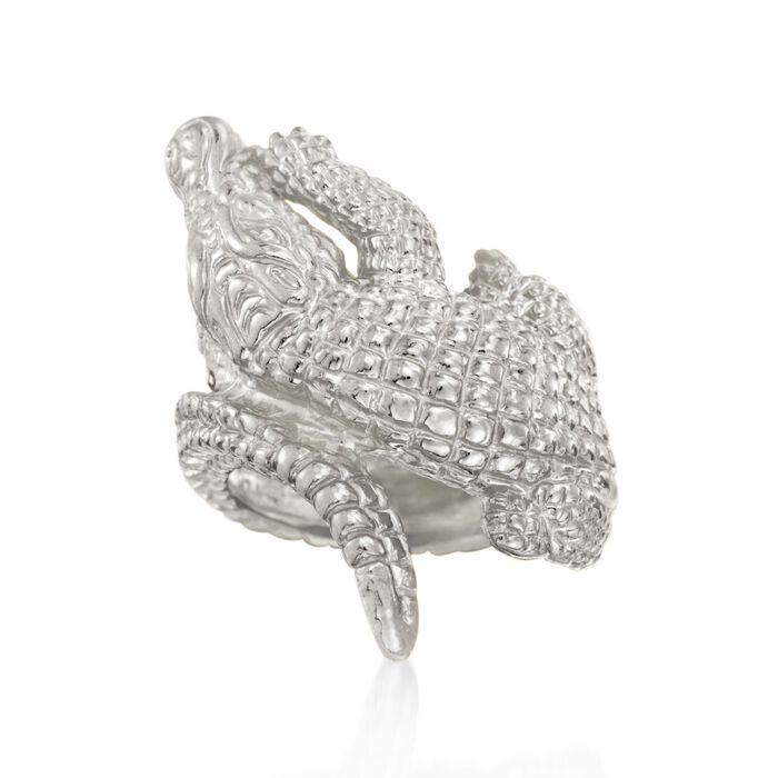 Italian Sterling Silver Alligator Bypass Ring, , default