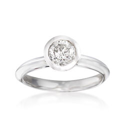 1.00 Carat Bezel-Set Diamond Ring in 14kt White Gold, , default