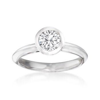 1.00 Carat Bezel-Set Diamond Ring in 14kt White Gold, , default