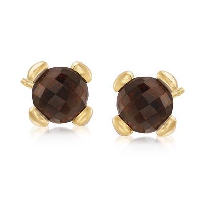 Italian Andiamo 2.00 ct. t.w. Smoky Quartz Earrings in 14kt Yellow Gold, , default