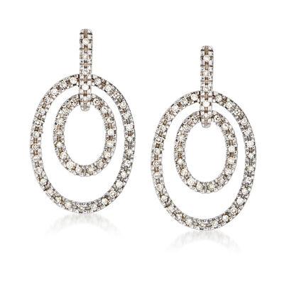 C. 2000 Vintage .50 ct. t.w. Diamond Double-Oval Drop Earrings in 14kt White Gold