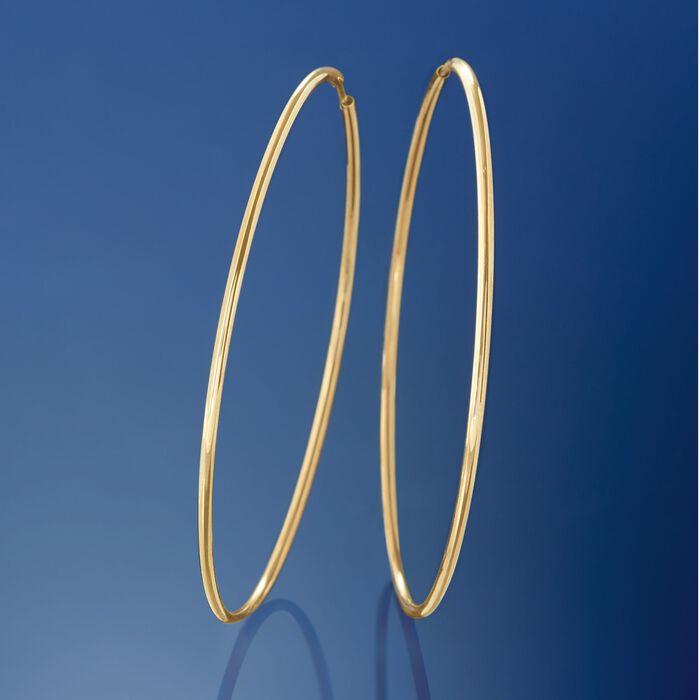 1.5mm 14kt Yellow Gold Endless Hoop Earrings