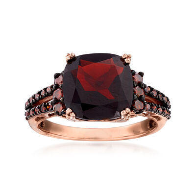 4.00 Carat Garnet and .31 ct. t.w. Red Diamond Ring in 14kt Rose Gold, , default