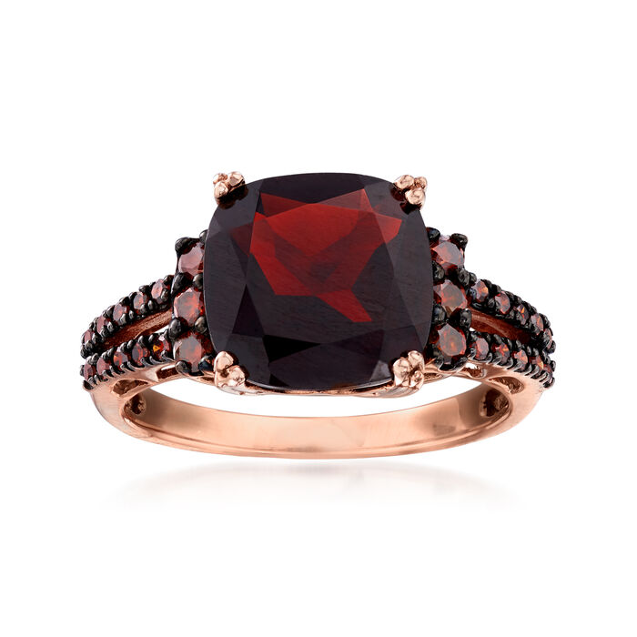 4.00 Carat Garnet and .31 ct. t.w. Red Diamond Ring in 14kt Rose Gold