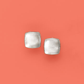Polished Square Clip-On Earrings in Sterling Silver, , default