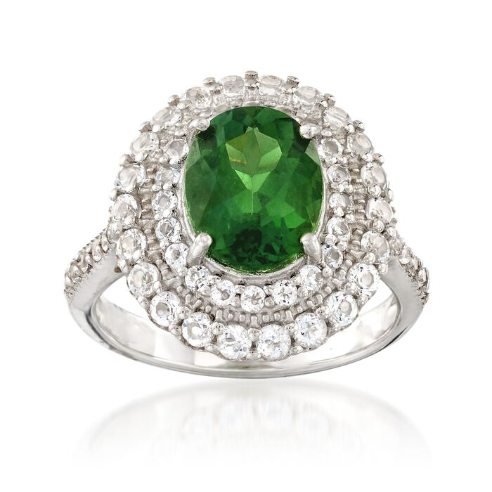 2.50 Carat Green Apatite and 1.05 ct. t.w. White Topaz Ring in Sterling Silver, , default