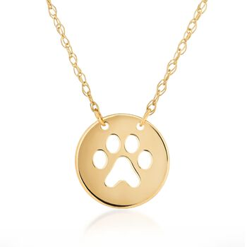 "14kt Yellow Gold Mini Paw Print Cut-Out Necklace. 16"", , default"