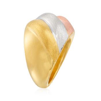 Italian Andiamo 14kt Tri-Colored Gold Ring