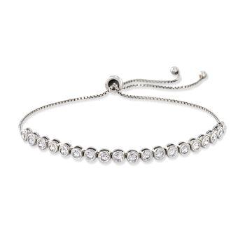 2.40 ct. t.w. Bezel-Set CZ Bolo Bracelet in Sterling Silver, , default