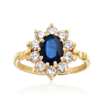 C. 1980 Vintage 1.50 Carat Sapphire and .70 ct. t.w. Diamond Ring in 14kt Yellow Gold, , default