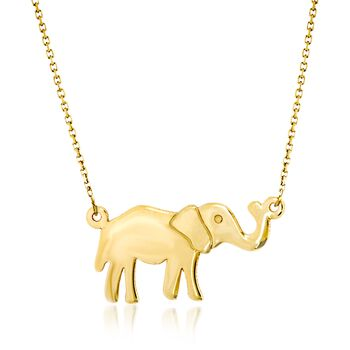 "14kt Yellow Gold Elephant Pendant Necklace. 16"", , default"