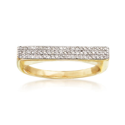 .19 ct. t.w. Diamond Wide Bar Ring in 14kt Yellow Gold, , default