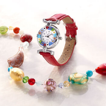 Italian Woman's Floral Multicolored Murano Glass 26mm Stainless Watch With Red Leather, , default