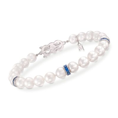 Mikimoto 7-7.5mm A1 Akoya Pearl and Sapphire Bracelet in 18kt White Gold, , default