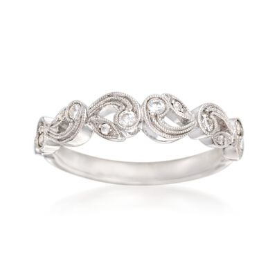 Simon G. .15 ct. t.w. Diamond Scroll Wedding Ring in 18kt White Gold, , default