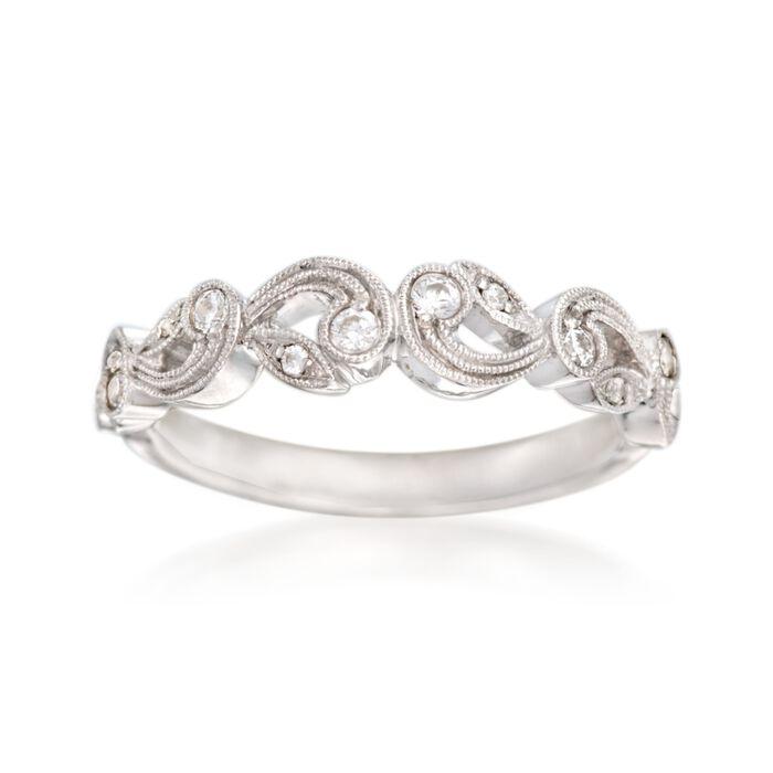 Simon G. .15 ct. t.w. Diamond Scroll Wedding Ring in 18kt White Gold, , default