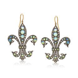 C. 1980 Vintage Opal and 1.00 ct. t.w. Diamond Fleur-De-Lis Drop Earrings in Sterling Silver, , default