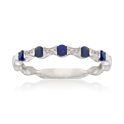 .20 ct. t.w. Sapphire Stackable Ring with Diamond Accents in 14kt White Gold, , default