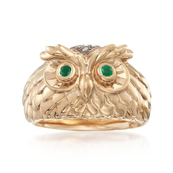 14kt Yellow Gold Owl Ring With Emeralds and Brown Diamond Accents, , default
