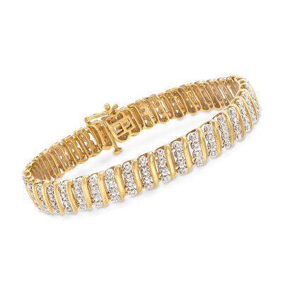 1.00 ct. t.w. Diamond Link Bracelet in 14kt Yellow Gold Over Sterling Silver