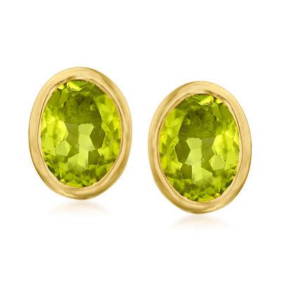 3.00 ct. t.w. Peridot Earrings in 18kt Gold Over Sterling