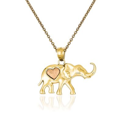 14kt Two-Tone Gold Elephant Pendant Necklace, , default