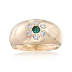 C. 1980 Vintage .12 Carat Emerald and .30 ct. t.w. Diamond Dome Ring in 14kt Yellow Gold. Size 6, , default