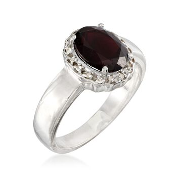 2.30 Carat Garnet Ring With White Topaz Accents in Sterling Silver, , default