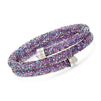 "Swarovski Crystal ""Crystaldust"" Light Purple Coil Bangle Bracelet With Stainless Steel. 7"", , default"