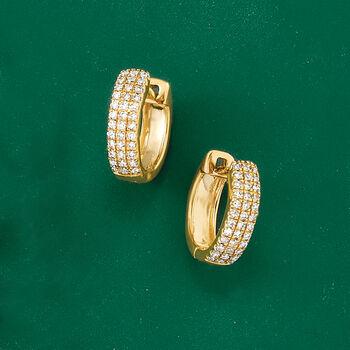 """.14 ct. t.w. Diamond Huggie Hoop Earrings in 14kt Yellow Gold. 3/8"""""""