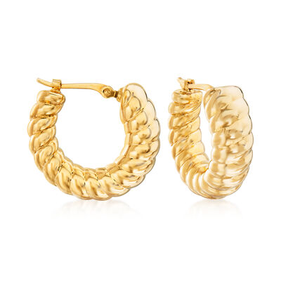14kt Yellow Gold Small Twisted Hoop Earrings