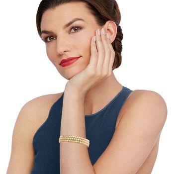 "Italian 18kt Yellow Gold Ribbed Link Three-Row Bracelet. 7.5"", , default"