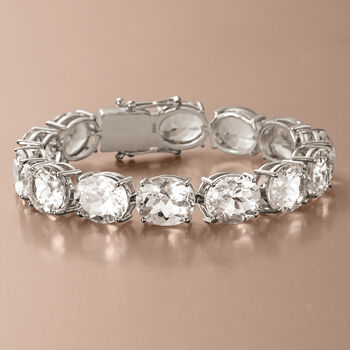 Rock Crystal Quartz Bracelet in Sterling Silver, , default