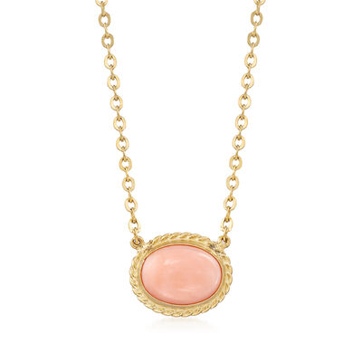 8x6mm Coral Necklace in 14kt Yellow Gold, , default