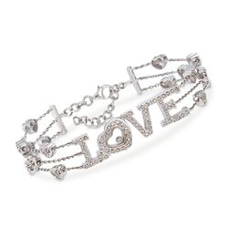 "C. 2000 Vintage .50 ct. t.w. Diamond ""Love"" Station Bracelet in 18kt White Gold. 7.5"", , default"