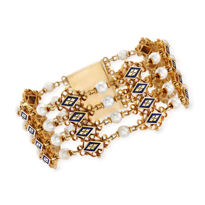 """C. 1940 Vintage Cultured Pearl and Blue Enamel Bracelet in 14kt Yellow Gold. 7.5"""""""