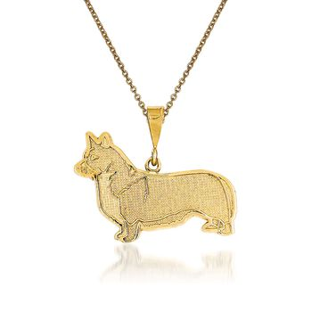"""14kt Yellow Gold Welsh Corgi Pendant Necklace. 18"""", , default"""