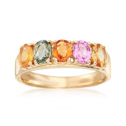 1.70 ct. t.w. Multicolored Sapphire Ring in 14kt Yellow Gold, , default