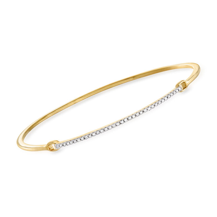 .25 ct. t.w. Diamond Bar Bangle Bracelet in Sterling Silver and 18kt Yellow Gold Over Sterling Silver