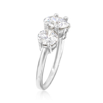 4.00 ct. t.w. CZ Three-Stone Ring in 14kt White Gold