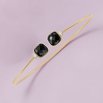 """Black Onyx Cuff Bracelet With Diamond Accents in 14kt Yellow Gold. 8"""", , default"""