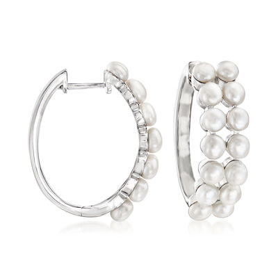 3.5-4mm Cultured Pearl Hoop Earrings in Sterling Silver, , default