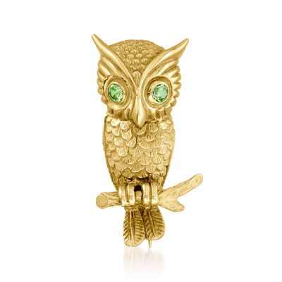 C. 1960 Vintage 18kt Yellow Gold Owl Pin with Green Glass Eyes