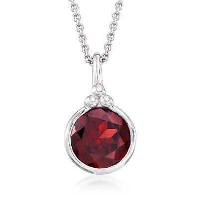 2.20 Carat Garnet Pendant Necklace in Sterling Silver, , default