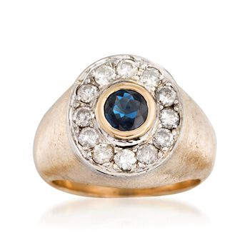 C. 1970 Vintage .65 Carat Sapphire and 1.00 ct. t.w. Diamond Ring in 14kt Yellow Gold. Size 8, , default