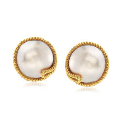 C. 1980 Vintage Tiffany Jewelry Mabe Pearl Earrings in 14kt Yellow Gold, , default