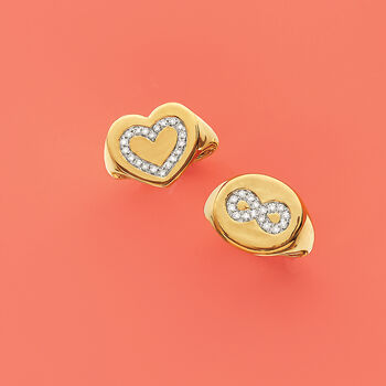 .16 ct. t.w. Diamond Heart Signet Ring in 14kt Yellow Gold. Size 8, , default